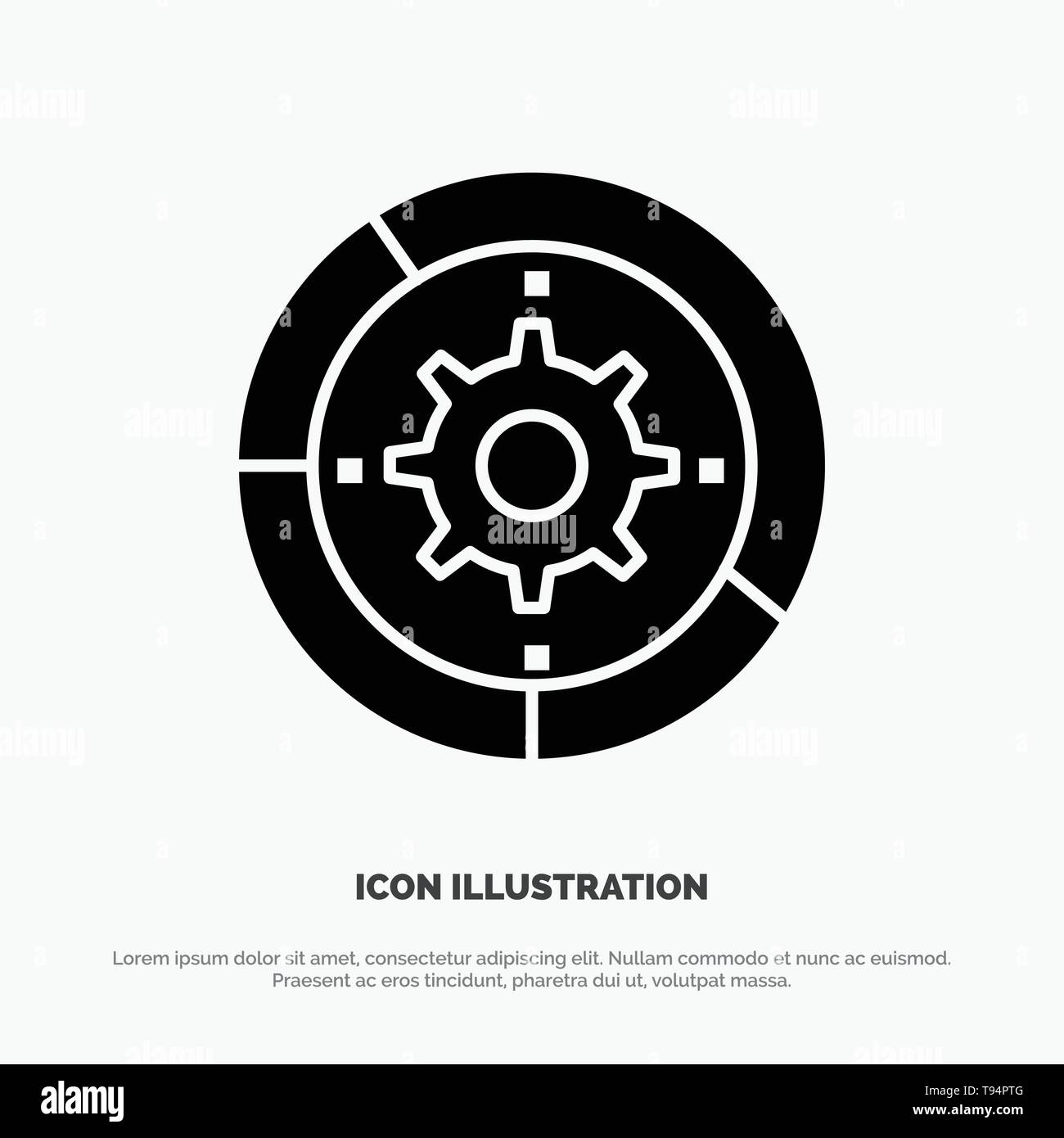 Gear, Settings, Setup, Engine, Process solid Glyph Icon vector Stock