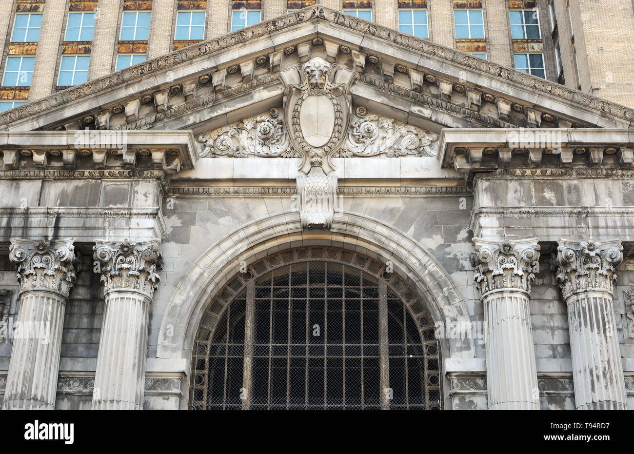 Detail of the long-abandoned Michigan Central Station rail depot in Detroit, Michigan. The landmark was purchased by the Ford Motor Company in 2018. - Stock Image