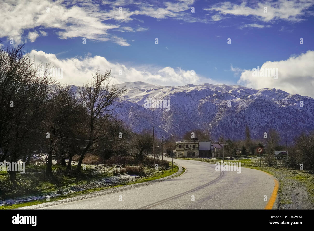 winding Mountain road. Traveling concept. Photographed in Crete, Greece Stock Photo