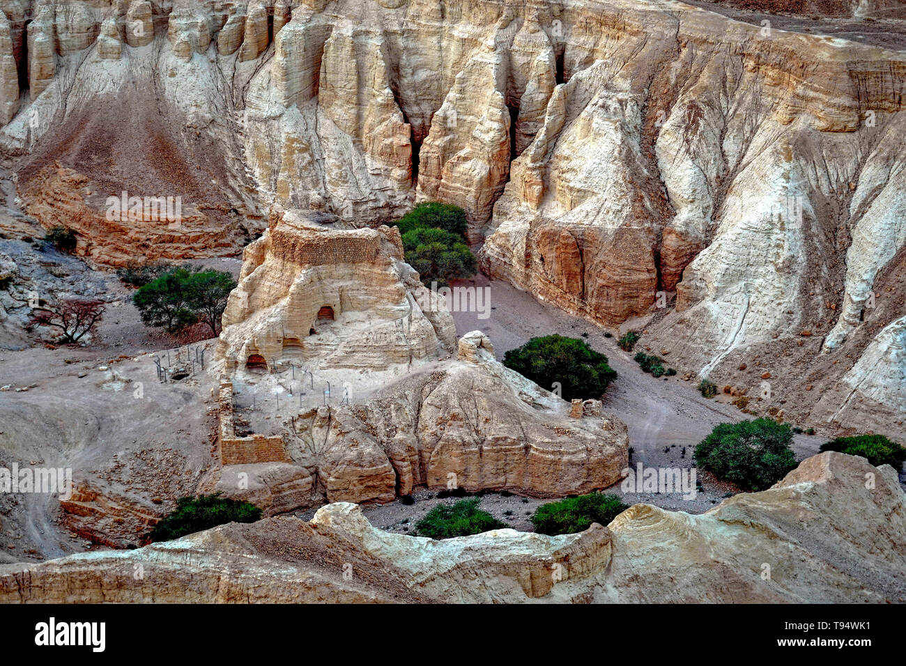 Marl stone formations. Eroded cliffs made of marl. Marl is a calcium carbonate-rich, mudstone formed from sedimentary deposits. Photographed in Israel Stock Photo