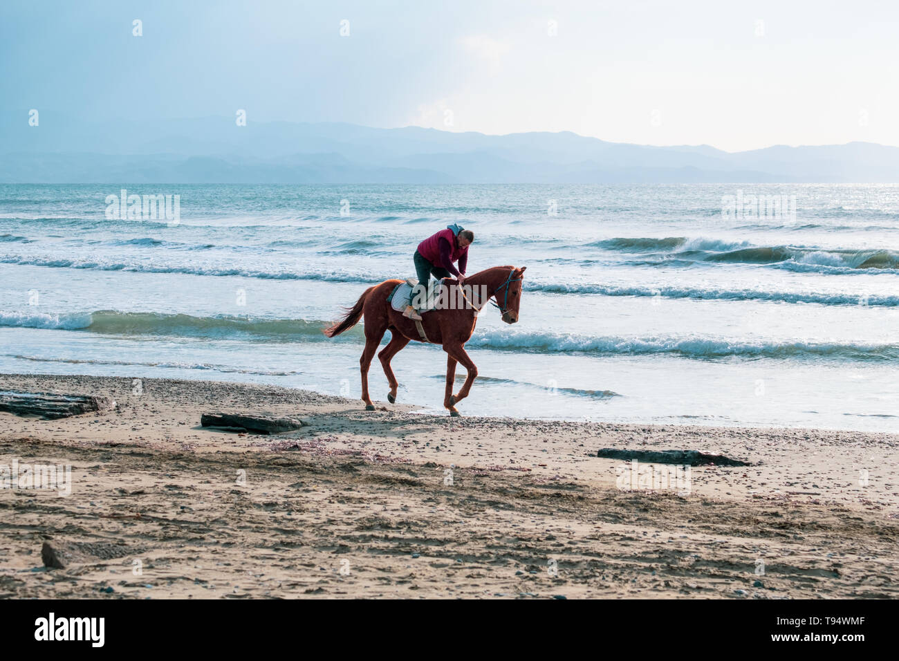 Ayia Eirini, Cyprus - 24 March, 2019: Man riding on a brown galloping horse on Ayia Erini beach in Cyprus against a rough sea - Stock Image
