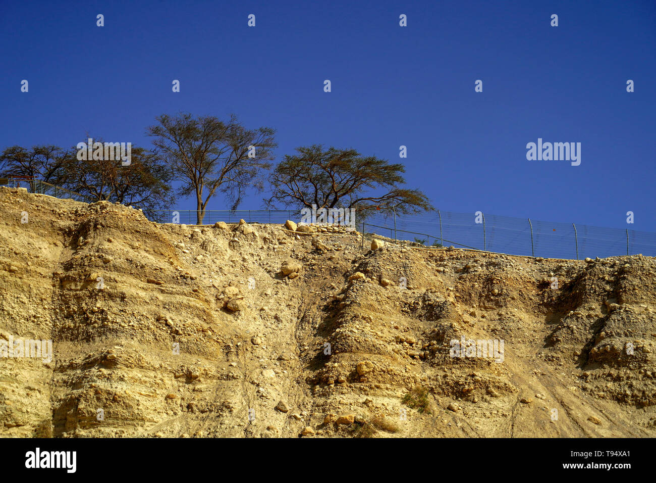 Israel, Dead Sea, Ein Gedi national park the eroded marl stone cliff overlooking the stream Stock Photo