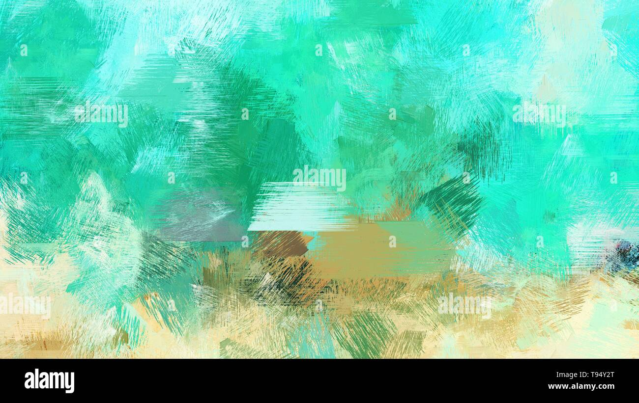 Medium Turquoise Turquoise And Tea Green Color Painted