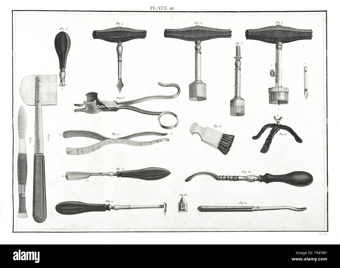 Various types of trephines, spring forceps, a lenticular, a raspatory, and a scalpel, used for trepanning. Trepanning is a surgical intervention in which a hole is drilled or scraped into the human skull, exposing the dura mater to treat health problems related to intracranial diseases. Cave paintings indicate that people believed the practice would cure epileptic seizures, migraines, mental disorders and the bone that was trepanned was kept as a charm to keep evil spirits away. - Stock Image