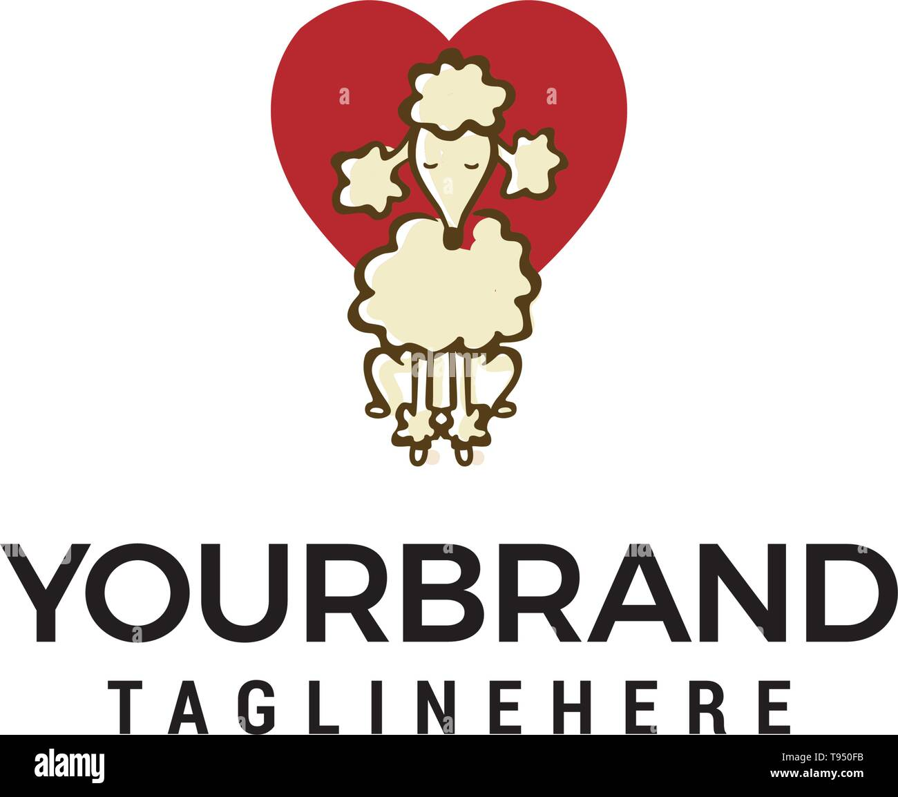 dog heart logo design concept template vector - Stock Image