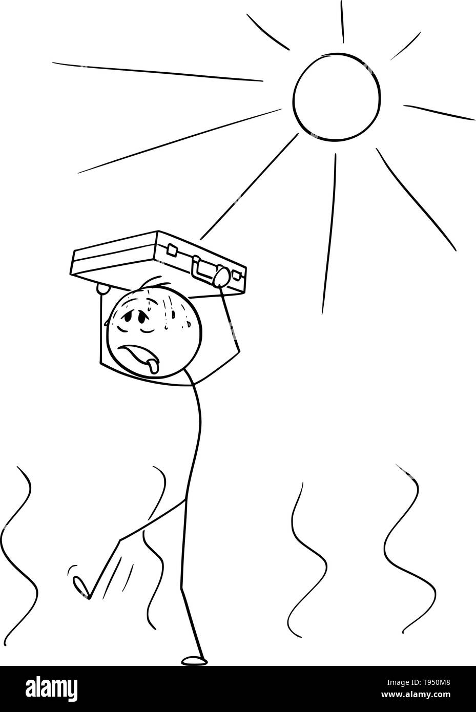Vector cartoon stick figure drawing conceptual illustration of thirsty man or businessman walking in hot weather with briefcase above his head protecting him from the Sun. Metaphor of financial crisis. - Stock Vector