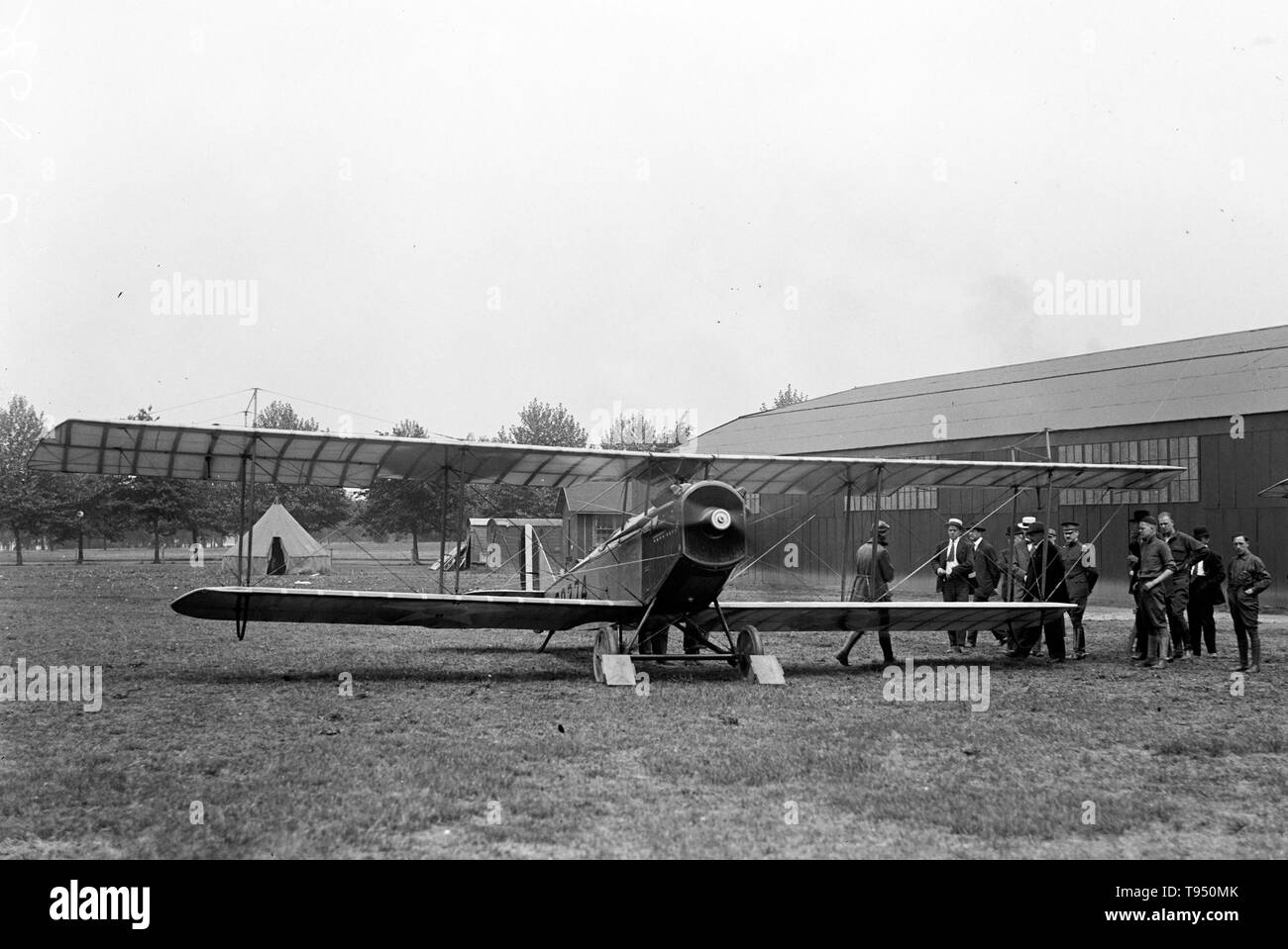 Entitled: 'Air mail. Inauguration of service, Polo Field.' The first scheduled U.S. Air Mail service began on May 15, 1918, using six converted United States Army Air Service Curtiss JN-4HM 'Jenny' biplanes flown by Army pilots under the command of Major Reuben H. Fleet and operating on a route between Washington, D.C. (Washington Polo Grounds) and New York City (Belmont Park) with an intermediate stop in Philadelphia (Bustleton Field). - Stock Image