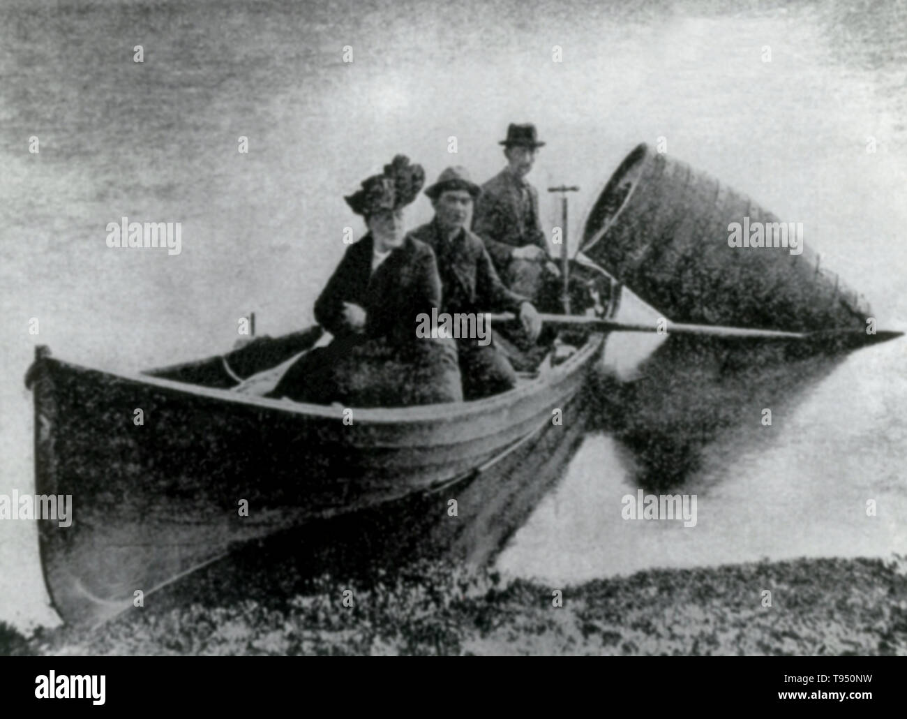 Annie Edson Taylor (October 24, 1838 - April 29, 1921) was an American teacher. Desiring to secure her later years financially, she decided she would be the first person to ride over Niagara Falls in a barrel. Taylor used a custom-made barrel for her trip, constructed of oak and iron and padded with a mattress. On October 24, 1901, her 63rd birthday, the barrel was put over the side of a rowboat, and Taylor climbed in, along with her lucky heart-shaped pillow. Stock Photo
