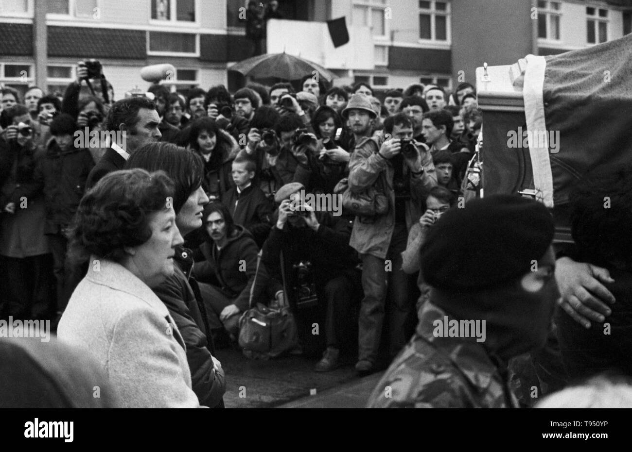 En route from their home on the Twinbrook Estate, Belfast, to the nearby St Luke's Church, are Mrs Rosaleen Sands - mother of hunger striker Bobby Sands, MP - and her daughter Marcella. - Stock Image