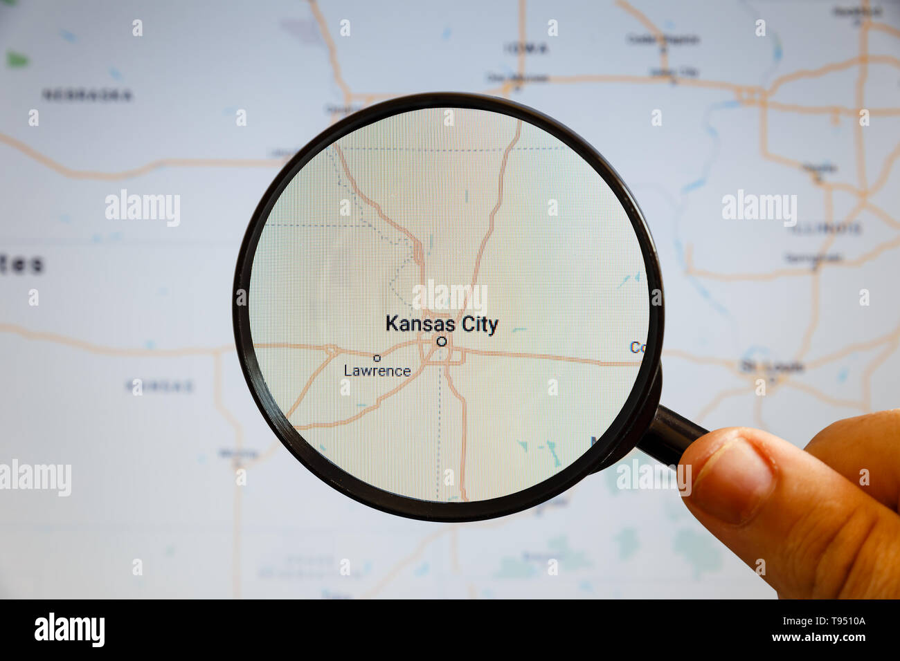 Kansas City, United States. Political map. The city on the ...