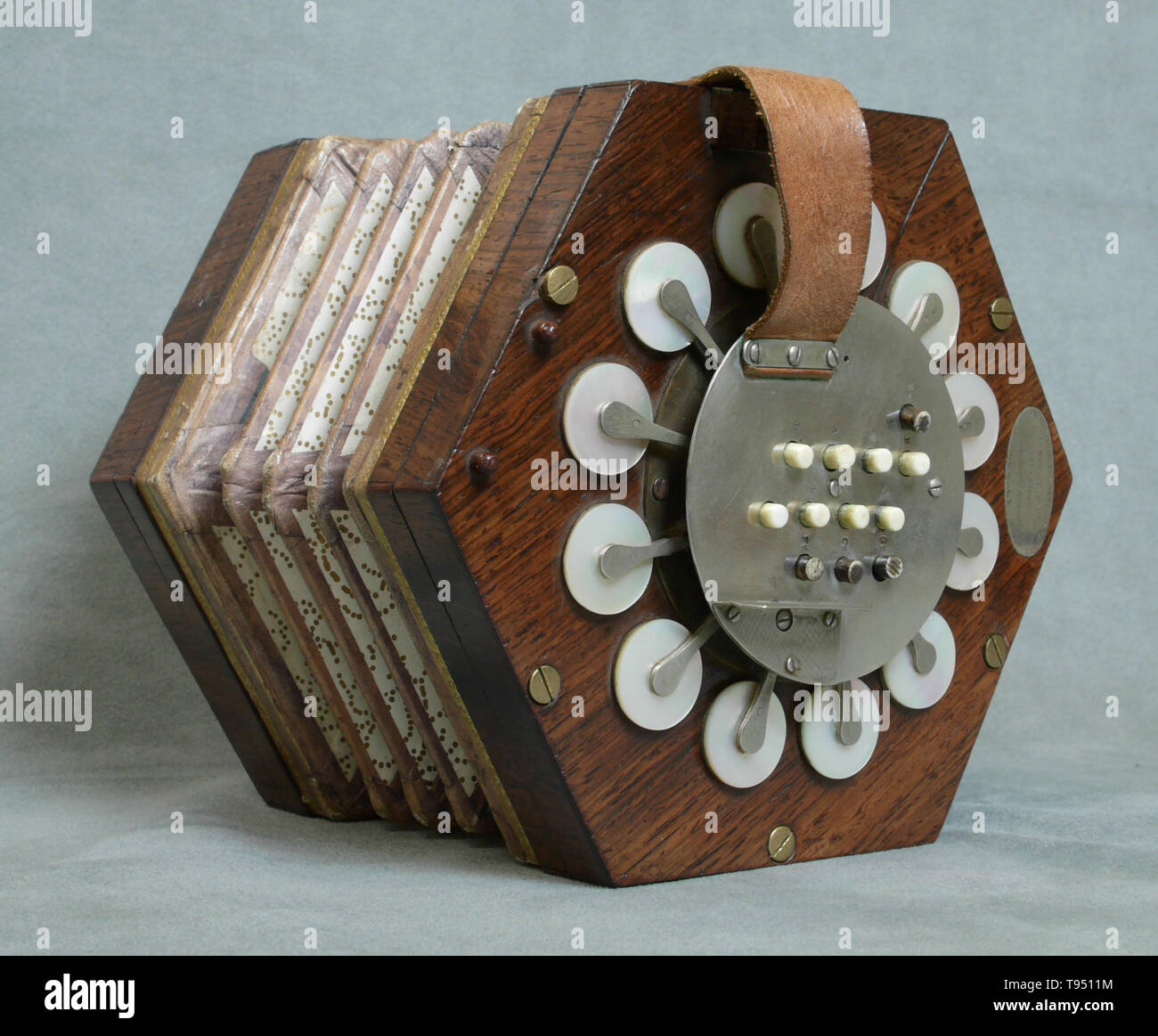 A concertina made by Charles Wheatstone (1802-1875) in London, England between 1831 and 1837. The concertina was invented in England and Germany, most likely independently. The English version was invented in 1829 by Sir Charles Wheatstone, while Carl Friedrich Uhlig announced the German version five years later, in 1834. Apart from the concertina, Charles Wheatstone invented the stereoscope (a device for displaying three-dimensional images), and the Playfair cipher (an encryption technique). He is best known for his contributions in the development of the Wheatstone bridge, originally invente - Stock Image