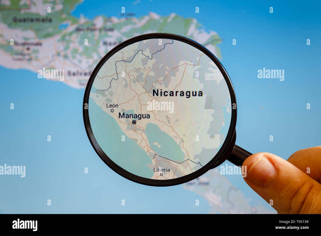 Managua, Nicaragua. Political map. The city on the monitor ... on tegucigalpa on map, montevideo on map, mbabane on map, makassar on map, taegu on map, cayman islands on map, panama on map, valledupar on map, havana on map, kampala on map, kingston on map, cancun on map, toronto on map, san juan on map, libreville on map, rio de janeiro on map, santiago on map, santo domingo on map, bogota on map, nassau on map,