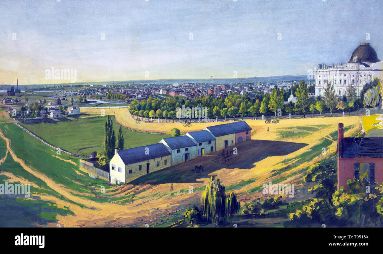 View of Washington, D.C., looking northwest from southeast of the U.S. Capitol, c. 1846-1855. The drawing shows stables in the foreground and a view of the city of Washington from southeast, with the United States Capitol on the right, the White House in center background, and the Smithsonian castle and Washington Monument on the left. Augustus Kollner, artist, 1813-1906. Watercolor and gouache. Stock Photo