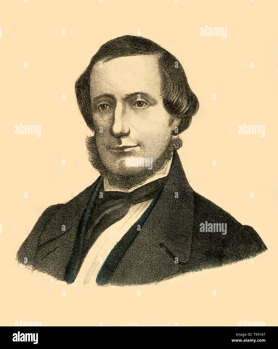 One of the 19th century's great technological achievements was to lay a telegraphic cable beneath the Atlantic, allowing messages to speed back and forth between North America and Europe in minutes, rather than ten or twelve days by steamer. An initially successful attempt in 1858, led by Cyrus W. Field (portrayed here) and financed by the Atlantic Telegraph Company, failed after three weeks. Two working cables were finally laid in July and September 1866, the result of repeated efforts by the indefatigable Field, a cadre of engineers, technicians, and sailors, two groups of financial backers, - Stock Image