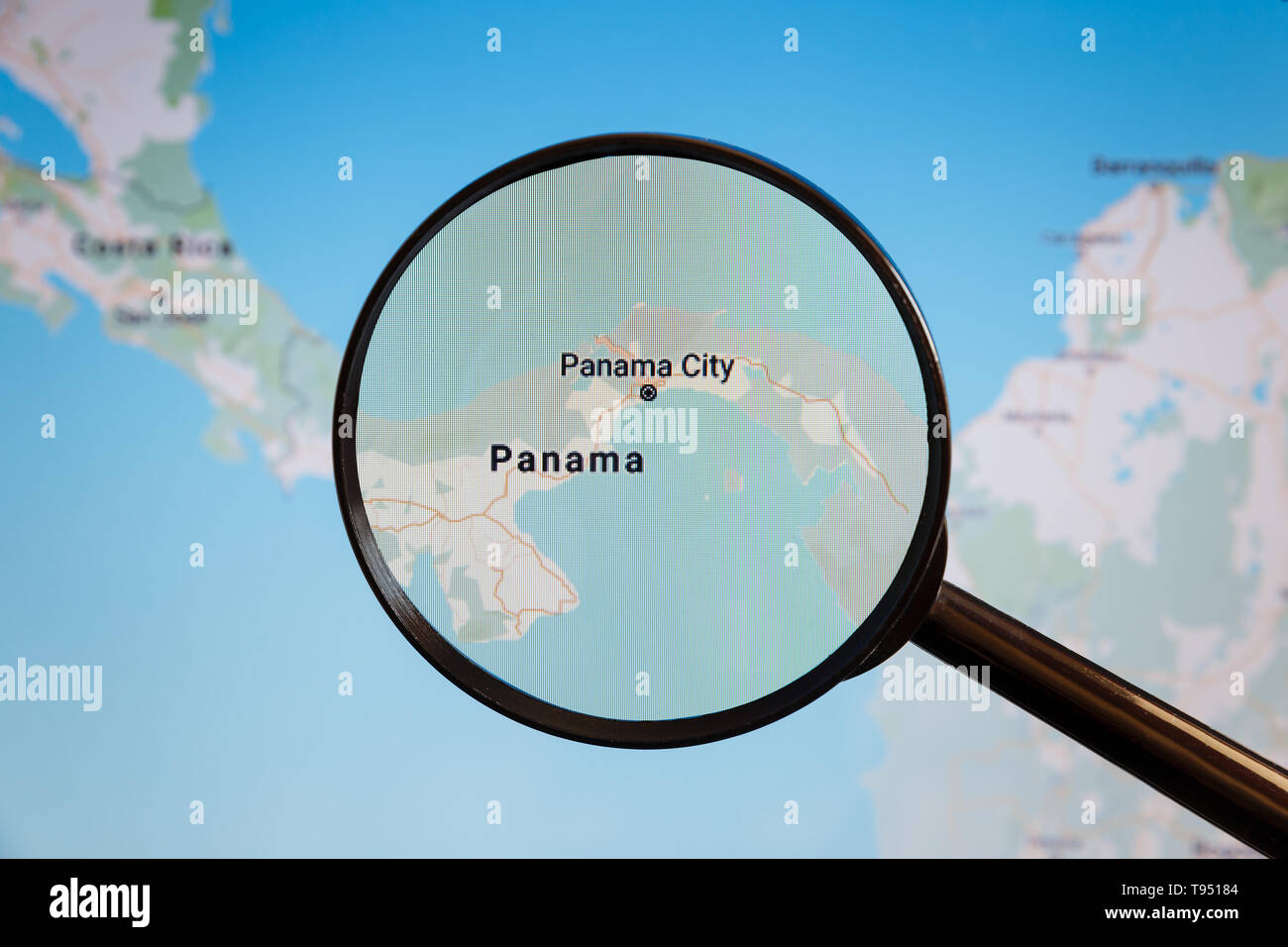 Image of: Panama City Panama Political Map The City On The Monitor Screen Through A Magnifying Glass Stock Photo Alamy