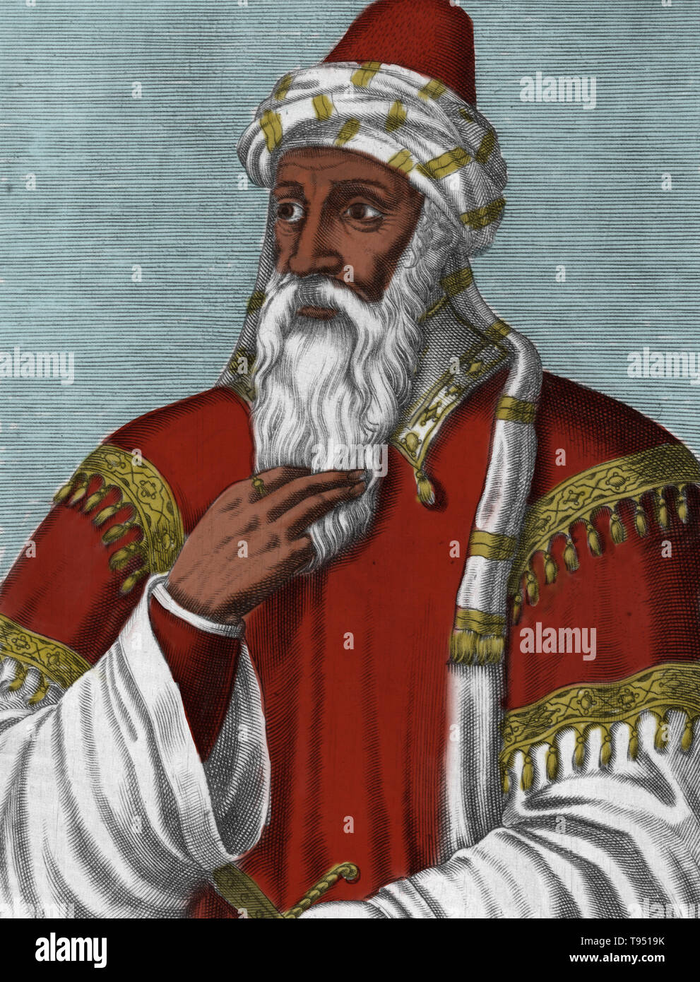 Salah ad-Din Yusuf ibn Ayyub (1138-1193) was a Kurdish Muslim, who became the first Sultan of Egypt and Syria, and founded the Ayyubid dynasty. At the height of his power, his sultanate included Egypt, Syria, Mesopotamia, Hejaz, Yemen, and parts of North Africa. Under his leadership, his forces defeated the Crusaders at the Battle of Hattin, leading the way to his recapturing of Palestine, which had been seized from the Fatimid Egyptians by the Crusaders 88 years earlier. His noble and chivalrous behavior was noted by Christian chroniclers and despite being the nemesis of the Crusaders, he won - Stock Image
