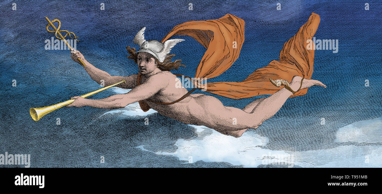 Hermes or Mercury with the caduceus and Roman tuba (or similar). Engraving by James Barry, 1791. Hermes is an ancient Greek god, son of Zeus and the Pleiad Maia. He is known as the messenger of the gods, and the one who conducts souls to the underworld. In some myths he is a trickster, and outwits other gods for his own satisfaction or for the sake of humankind. His main attributes and symbols include winged sandals (allowing him to fly), a winged cap, and his herald's staff (the Greek kerykeion or Latin caduceus), which consists of two snakes wrapped around a winged staff. This image has been - Stock Image