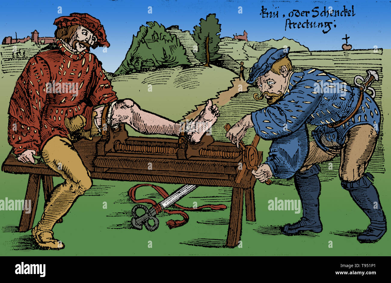 Reduction of a fracture of the leg on the battlefield, 1528. Woodcut from Feldtbuch des Wundartzney (Fieldbook of Surgery) by H. von Gersdorff, Strasbourg. This image has been colorized. - Stock Image