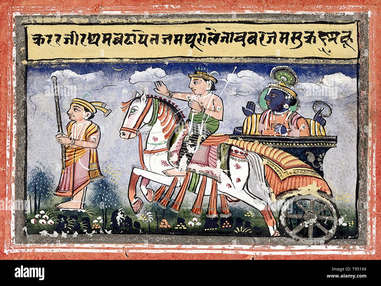 Krishna riding in a chariot going to Mathura. Krishna is the god of compassion, tenderness, and love in Hinduism. He is one of the most widely revered and popular Indian divinities, worshipped as the eighth incarnation of the Hindu god Vishnu and also as the supreme God in his own right. Krishna's birthday is celebrated every year by Hindus on Janmashtami according to the lunisolar Hindu calendar, which falls in late August or early September. Krishna is also known by numerous names, such as Govinda, Mukunda, Madhusudhana, Vasudeva, and Makhan chor in affection. The anecdotes and narratives of - Stock Image