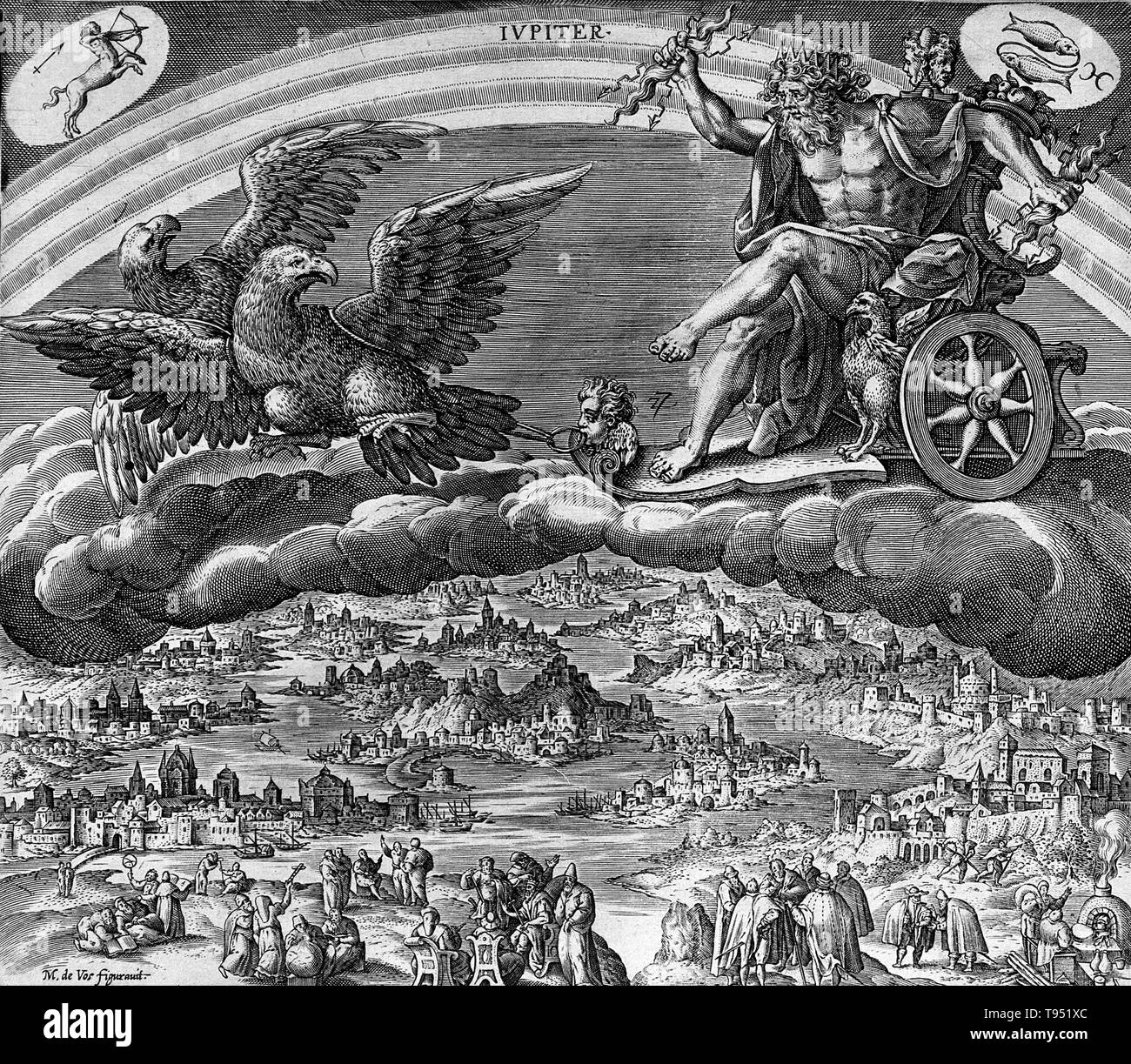 Jupiter in his chariot drawn by eagles. In ancient Roman religion and myth, Jupiter or Jove is the king of the gods and the god of sky and thunder. Jupiter was the chief deity of Roman state religion throughout the Republican and Imperial eras, until Christianity became the dominant religion of the Empire. He is usually thought to have originated as a sky god. His identifying implement is the thunderbolt, and his primary sacred animal is the eagle, which held precedence over other birds in the taking of auspices and became one of the most common symbols of the Roman army. The Romans regarded J - Stock Image