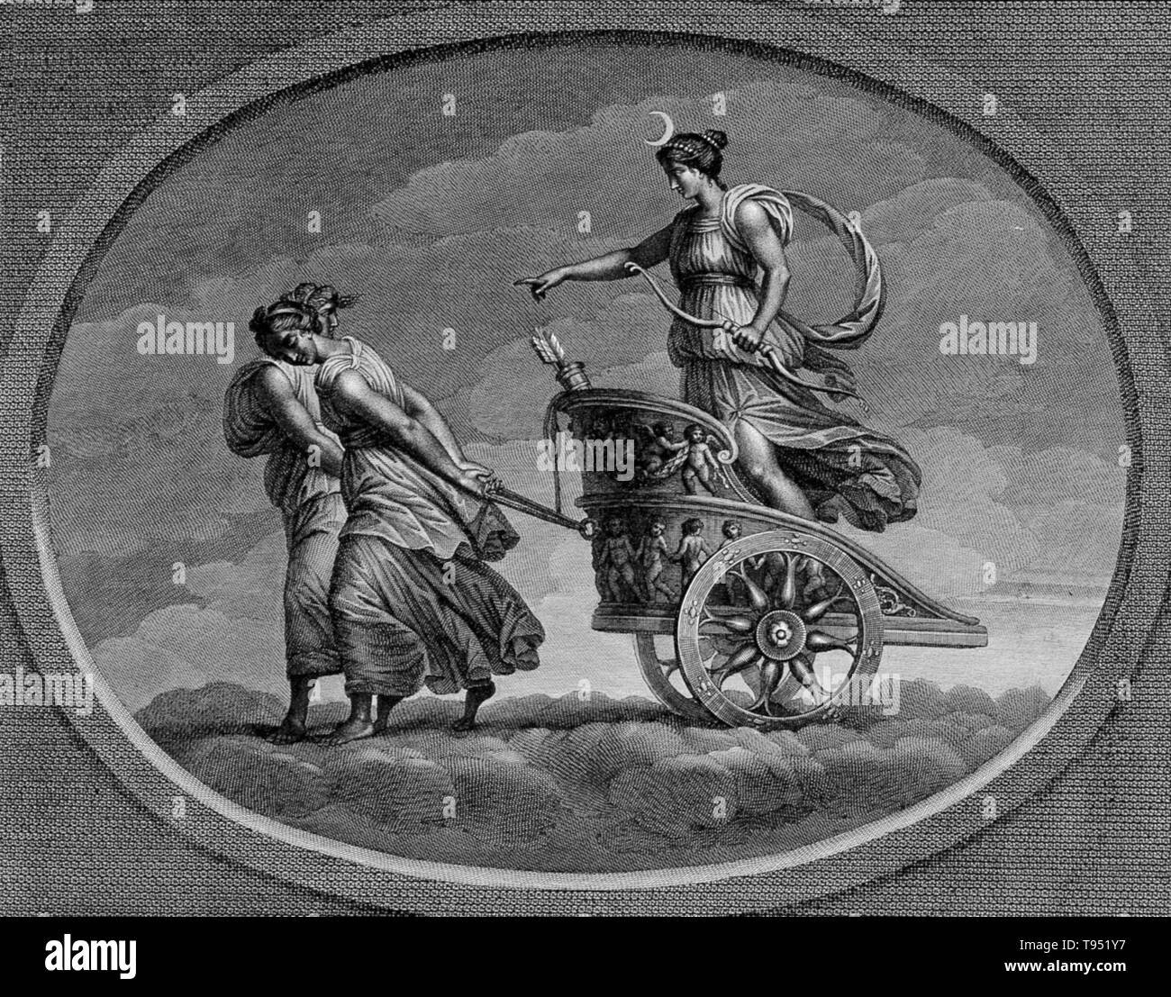 The moon, in her chariot drawn by a pair of women. In ancient Roman religion and myth, Luna is the divine embodiment of the Moon (Latin luna; cf. English 'lunar'). She is often presented as the female complement of the Sun (Sol) conceived of as a god. Luna is also sometimes represented as an aspect of the Roman triple goddess (diva triformis ), along with Proserpina and Hecate. Luna is not always a distinct goddess, but sometimes rather an epithet that specializes a goddess, since both Diana and Juno are identified as moon goddesses. In Roman art, Luna's attributes are the crescent moon plus t - Stock Image