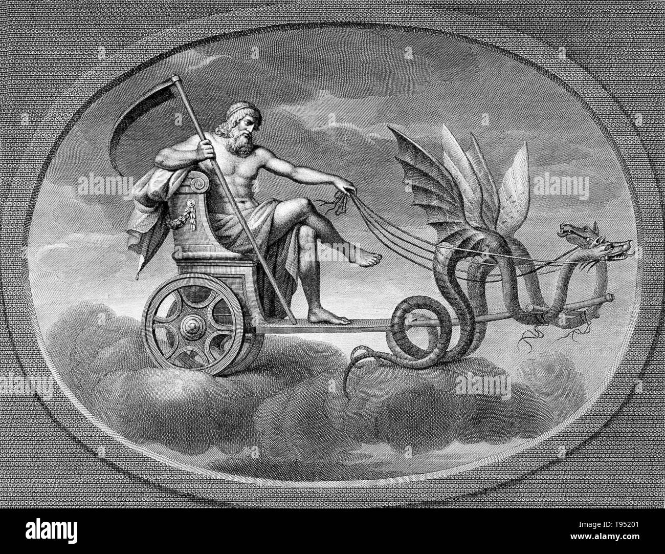 Saturn with his scythe, riding in his chariot. Saturn was a god in ancient Roman religion and a character in myth. He was the first god of the Capitol, known since the most ancient times as Saturnius Mons, and was seen as a god of generation, dissolution, plenty, wealth, agriculture, periodical renewal and liberation. In later developments he came to be also a god of time. His reign was depicted as a Golden Age of plenty and peace. The Temple of Saturn in the Roman Forum housed the state treasury. In December, he was celebrated at what is perhaps the most famous of the Roman festivals, the Sat - Stock Image
