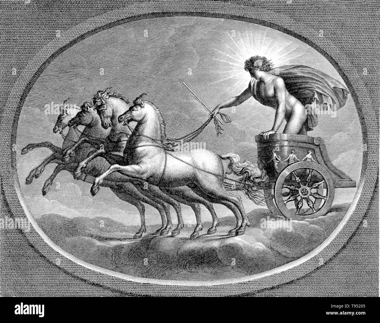 Sol in his chariot, riding across the heavens. Sol was the solar deity in Ancient Roman religion. It was long thought that Rome actually had two different, consecutive sun gods. The first, Sol Indiges, was thought to have been unimportant, disappearing altogether at an early period. Only in the late Roman Empire, scholars argued, did solar cult re-appear with the arrival in Rome of the Syrian Sol Invictus, perhaps under the influence of the Mithraic mysteries. Today, SOL is still the main word for sun in Romance languages. SOL is used in contemporary English by astronomers and many science fic - Stock Image
