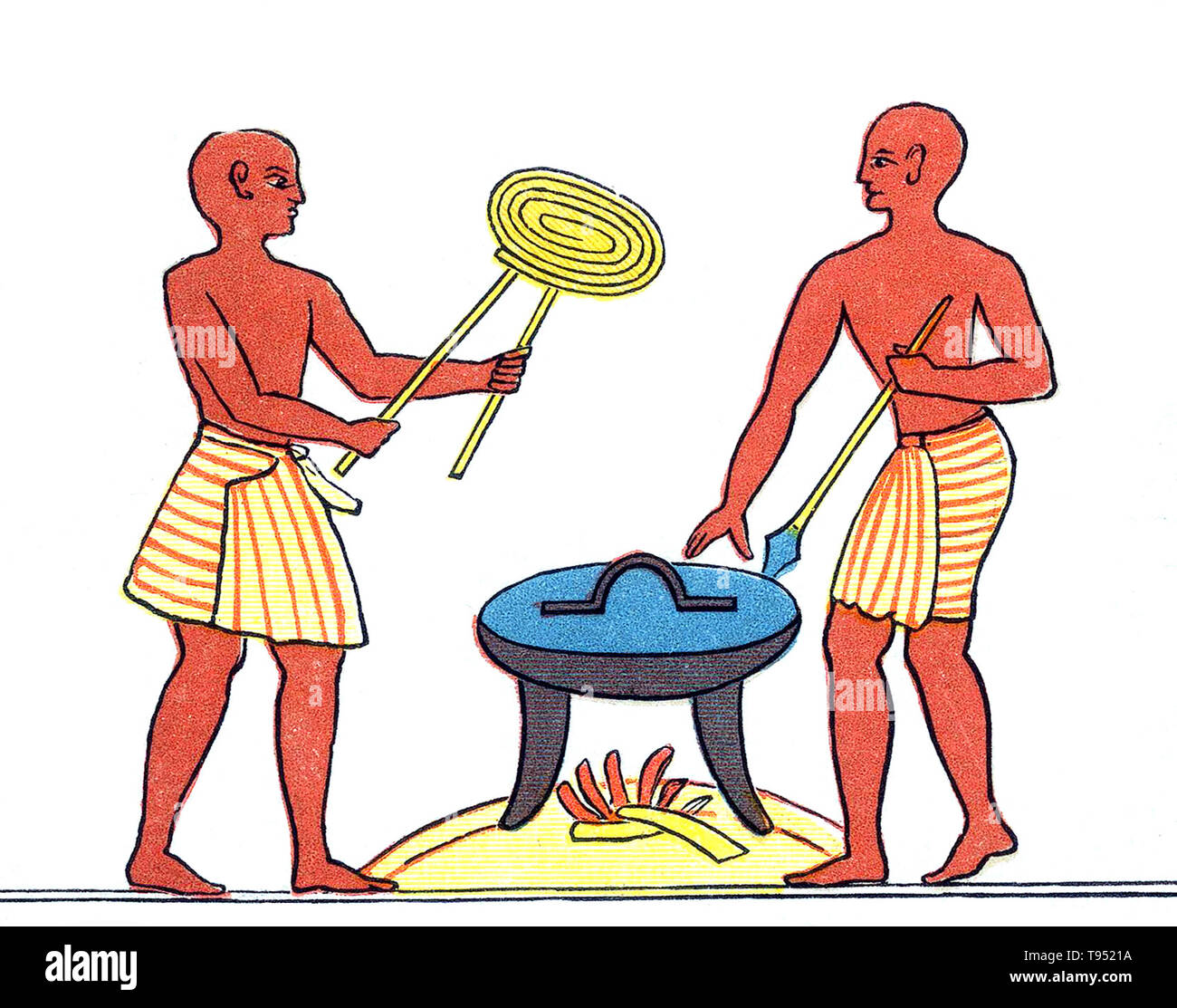 The cuisine of ancient Egypt covers a span of over three thousand years, but still retained many consistent traits until well into Greco-Roman times. The staples of both poor and wealthy Egyptians were bread and beer, often accompanied by green-shooted onions, other vegetables, and to a lesser extent meat, game and fish. Food could be prepared by stewing, baking, boiling, grilling, frying, or roasting. Spices and herbs were added for flavor, though the former were expensive imports and therefore confined to the tables of the wealthy. Food such as meats was mostly preserved by salting, and date - Stock Image
