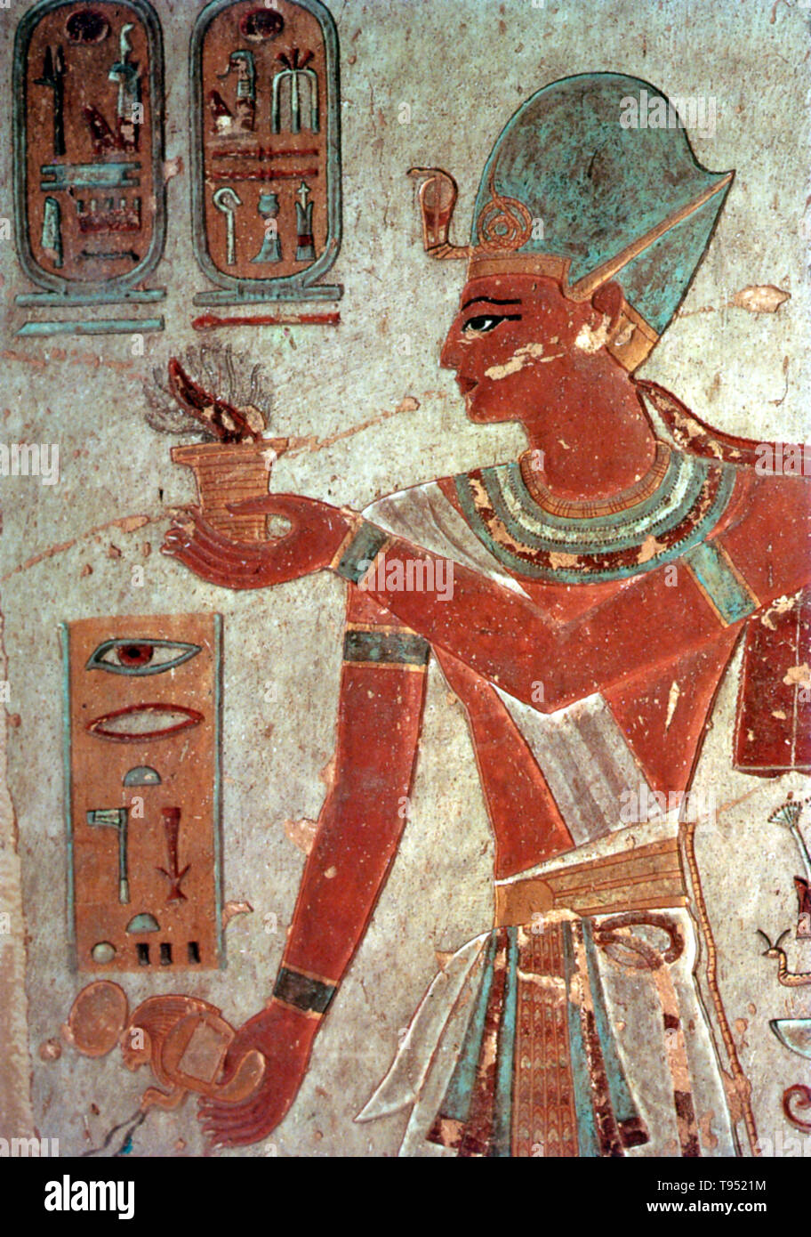 Painted relief of Ramses III offering incense, Valley of the Kings. Usimare Ramesses III was the second Pharaoh of the 20th Dynasty and is considered to be the last New Kingdom king to wield any substantial authority over Egypt. His long reign saw the decline of Egyptian political and economic power, linked to a series of invasions and internal economic problems. Ramesses III was the son of Setnakhte and Queen Tiy-Merenese. - Stock Image