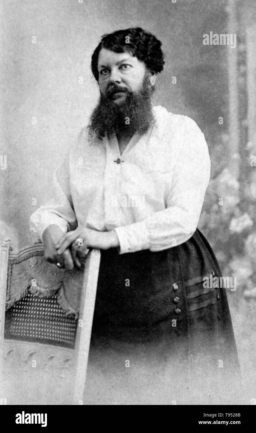 Clémentine Clatteaux Delait (March 5, 1865 - Apri 5, 1939) was a French bearded lady. Her facial hair began growing while she was a teenager. In 1885, she married a local baker, changed her name to Delait and opened a café and bakery in the village of Taon-les-Vosges. Until that point Clementine had shaved off her beard every day, but while working at the café she made a bet with a customer to let it grow. - Stock Image