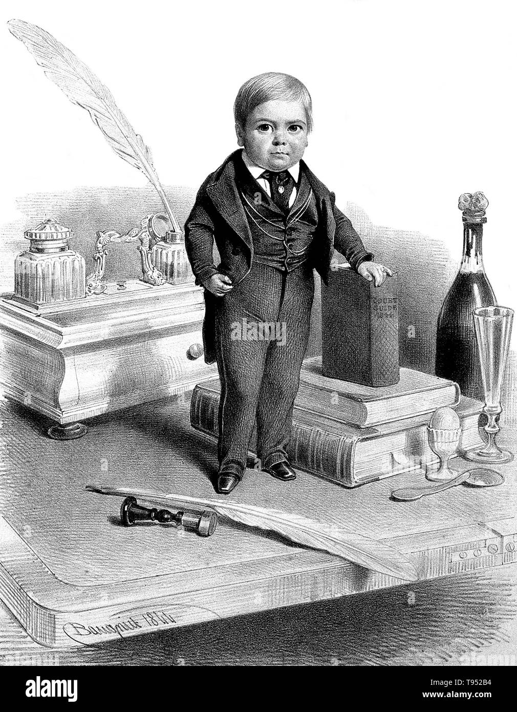 Stratton, age 12. Charles Sherwood Stratton (January 4, 1838 - July 15, 1883), 'General Tom Thumb', was an American dwarf performer. P.T. Barnum, a distant relative (half fifth cousin, twice removed), heard about Stratton and after contacting his parents, taught the boy how to sing, dance, mime, and impersonate famous people. Barnum took young Stratton on a tour of Europe, making him an international celebrity. His marriage with a little person, Lavinia Warren (October 31, 1842 - November 25, 1919), became front-page news. The wedding took place at Grace Episcopal Church and the wedding recept - Stock Image