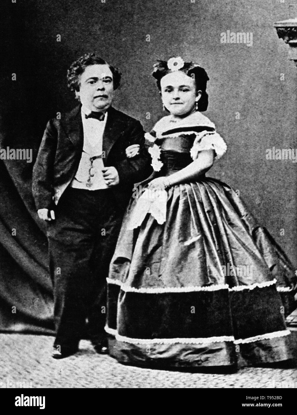 Charles Sherwood Stratton (January 4, 1838 - July 15, 1883), 'General Tom Thumb', was an American dwarf performer. P.T. Barnum, a distant relative (half fifth cousin, twice removed), heard about Stratton and after contacting his parents, taught the boy how to sing, dance, mime, and impersonate famous people. Barnum took young Stratton on a tour of Europe, making him an international celebrity. His marriage with a little person, Lavinia Warren (October 31, 1842 - November 25, 1919), became front-page news. The wedding took place at Grace Episcopal Church and the wedding reception was held at th - Stock Image