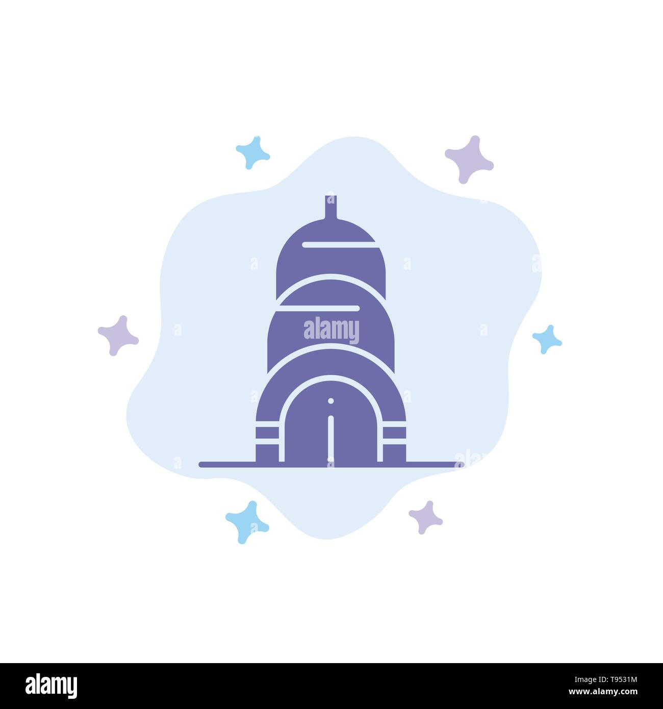 Chrysler, Building, Usa Blue Icon on Abstract Cloud Background - Stock Vector