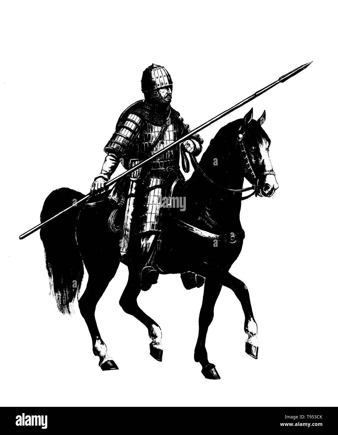 Mounted knight. Heavy armored magyar (hungarian) rider. Medieval cavalry illustration. Historical illustration. - Stock Image