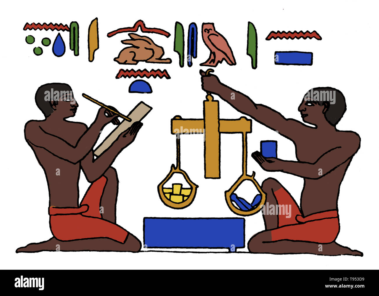 Weights and measures were among the earliest tools invented by man. Early Babylonian and Egyptian records, and the Bible, indicate that length was first measured with the forearm, hand, or finger and that time was measured by the periods of the sun, moon, and other heavenly bodies. When it was necessary to compare the capacities of containers such as gourds or clay or metal vessels, they were filled with plant seeds that were then counted to measure the volumes. With the development of scales as a means for weighing, seeds and stones served as standards. As societies evolved, measurements beca - Stock Image