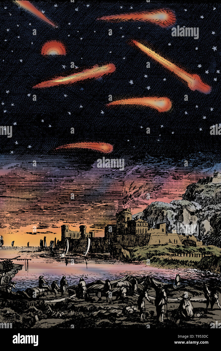 Engraving entitled: 'Calamities on Earth Associated with the Passage of Comets', from the 17th century. Before the invention of the telescope, comets seemed to appear out of nowhere in the sky and gradually vanish out of sight. They were usually considered bad omens of deaths of kings or noble men, or coming catastrophes, or even interpreted as attacks by heavenly beings against terrestrial inhabitants. A comet is a celestial object that orbits the Sun along an elongated path. - Stock Image