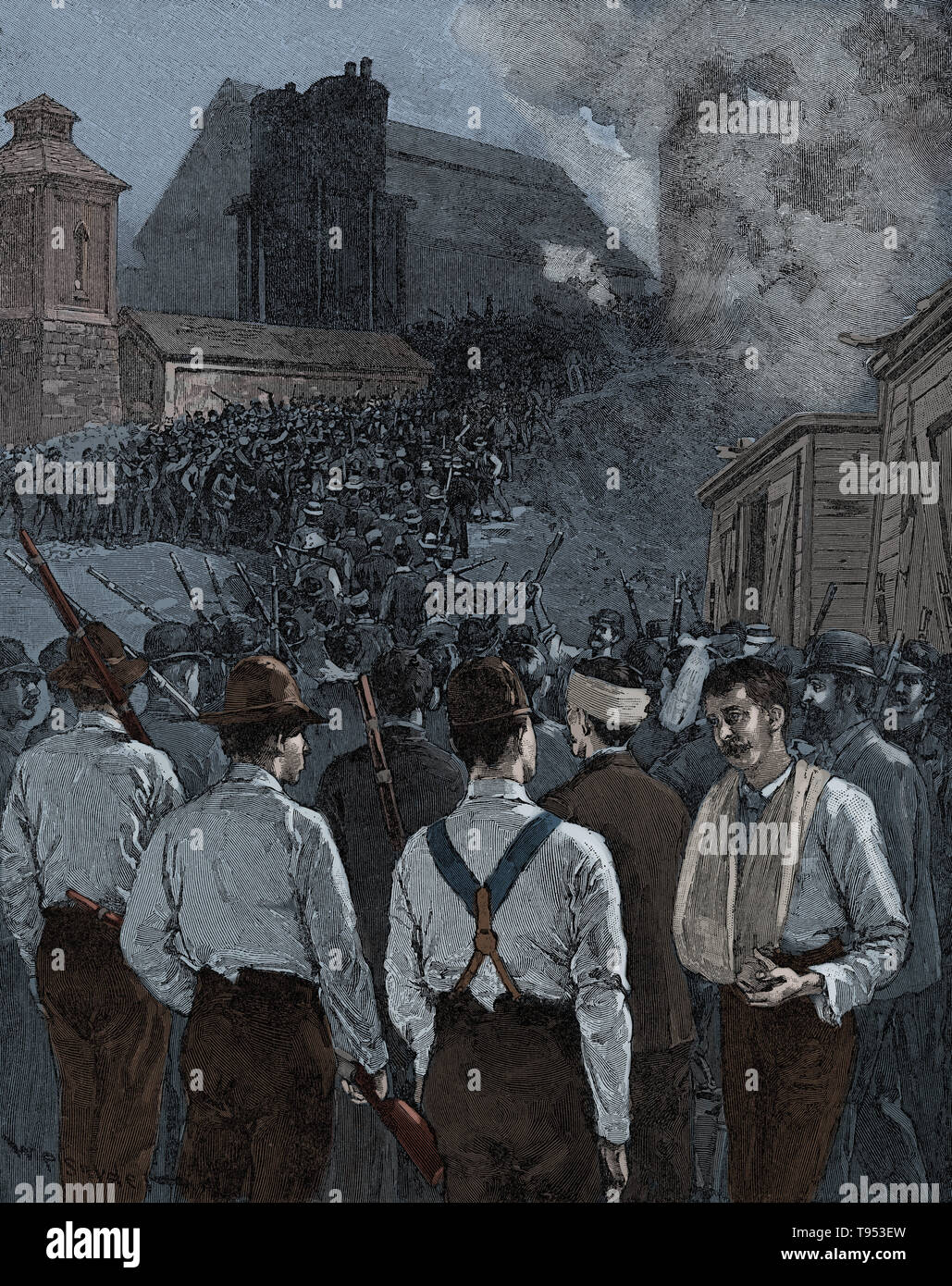 The Homestead Strike was an industrial lockout and strike which began on June 30, 1892, culminating in a battle between strikers and private security agents on July 6, 1892. The battle was the second largest and one of the most serious disputes in US labor history second only to the Battle of Blair Mountain. The dispute occurred at the Homestead Steel Works in the Pittsburgh area town of Homestead, Pennsylvania, between the Amalgamated Association of Iron and Steel Workers (the AA) and the Carnegie Steel Company. The final result was a major defeat for the union and a setback for efforts to un - Stock Image