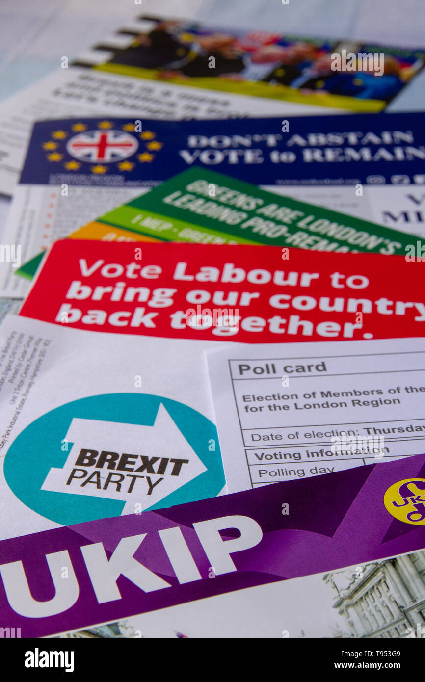 Poll card and election material for European Parliament elections 2019 - Stock Image
