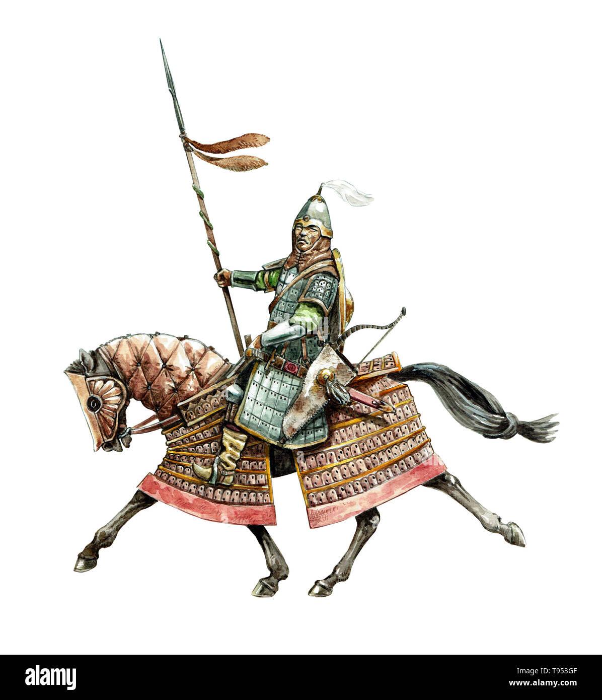 Mongol warrior. Medieval cavalry illustration. Historical illustration. - Stock Image