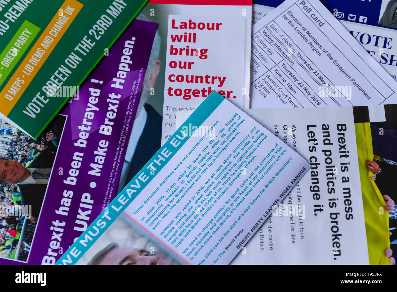 Overhead view of poll card & election material for European Parliament Elections 2019 in UK, showing different messages from the parties, landscape. - Stock Image