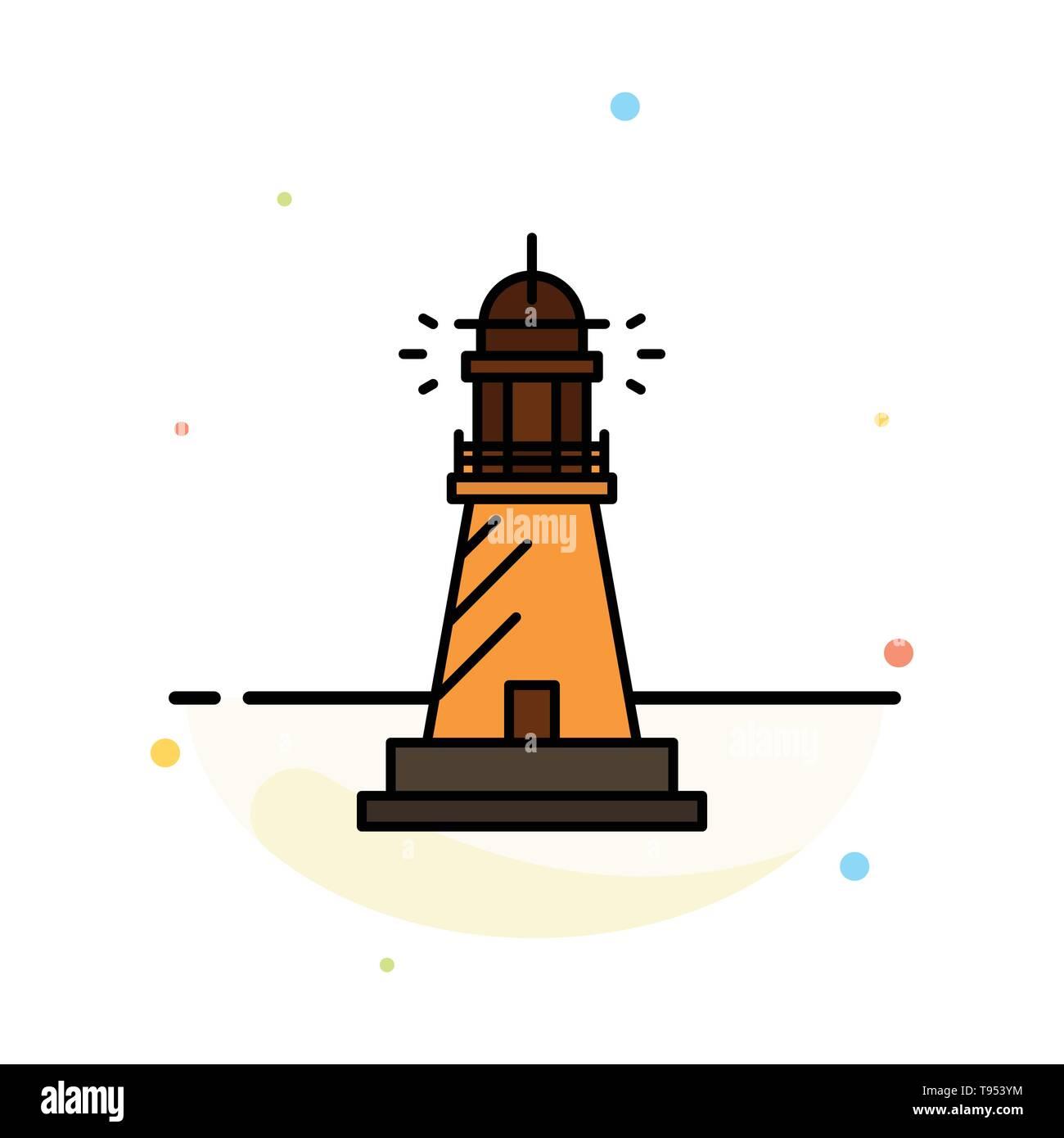 Lighthouse, House, Light, Beach, Ocean Abstract Flat Color Icon Template - Stock Vector