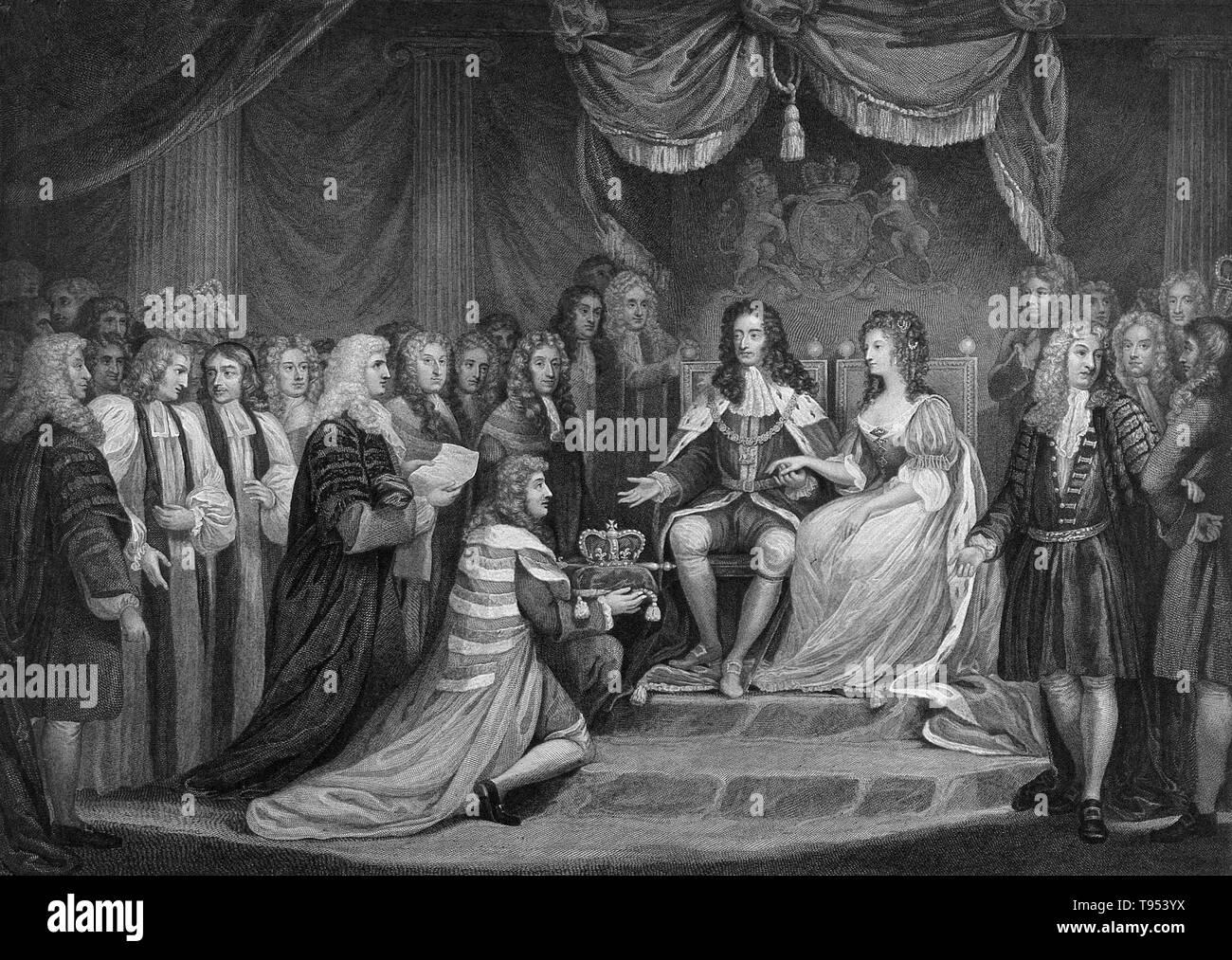 Entitled:  ''William of Orange, and Mary, his English wife are presented with the crown. William III & II (November 4, 1650 - March 8, 1702) was a sovereign Prince of Orange of the House of Orange-Nassau by birth. From 1689 he reigned as William III over England and Ireland. As King of Scotland, he is known as William II. In 1688 he invaded England in an action that ultimately deposed King James II & VII and won him the crowns of England, Scotland and Ireland. - Stock Image