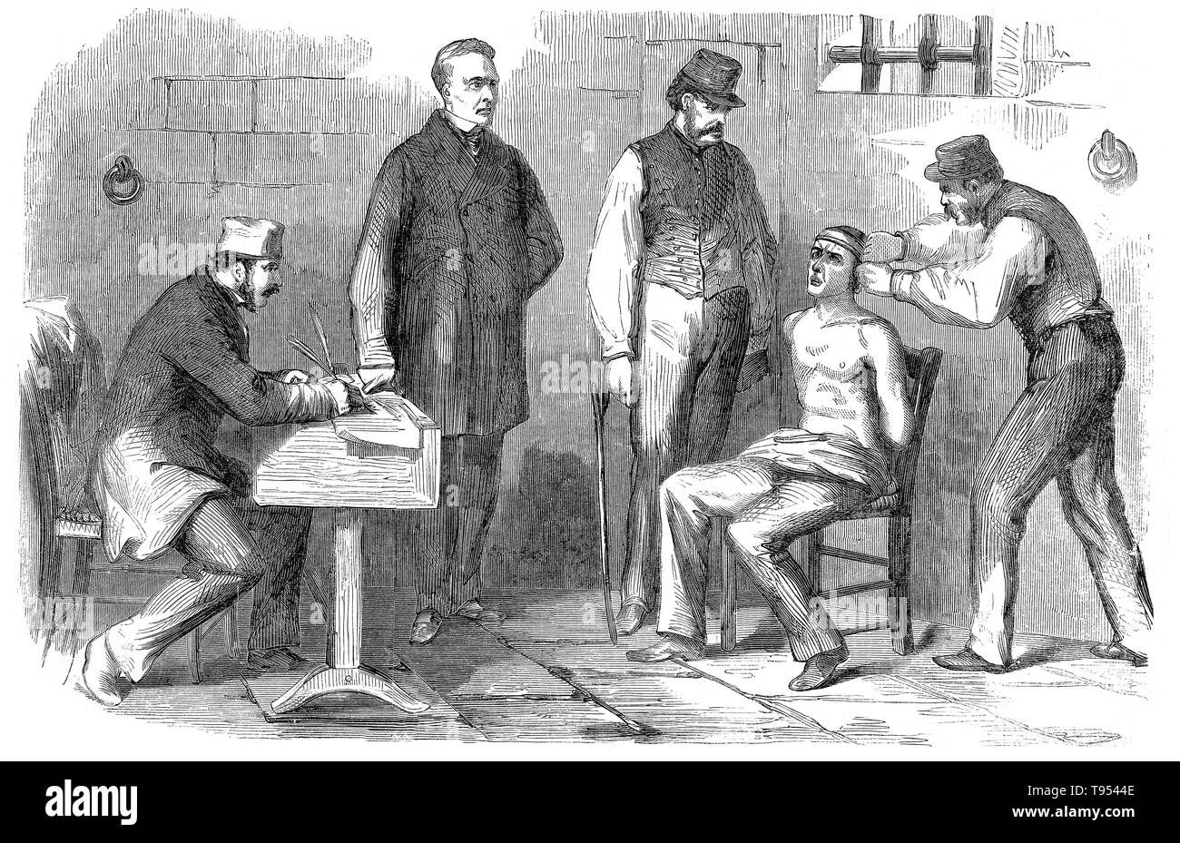 Harper's Weekly: ' The papers are full of accounts of the fiendish cruelties practiced by the Neapolitan jailers upon political prisoners: we now engrave a scene of torture which will make the blood of many a reader run cold. The engraving represents the application of the tourniquet to a prisoner who is suspected of sympathy with Garibaldi. The tourniquet is a cord passed round the head, and tightened by means of a stick inserted in it till the skin cracks and the eyes start from their sockets. - Stock Image