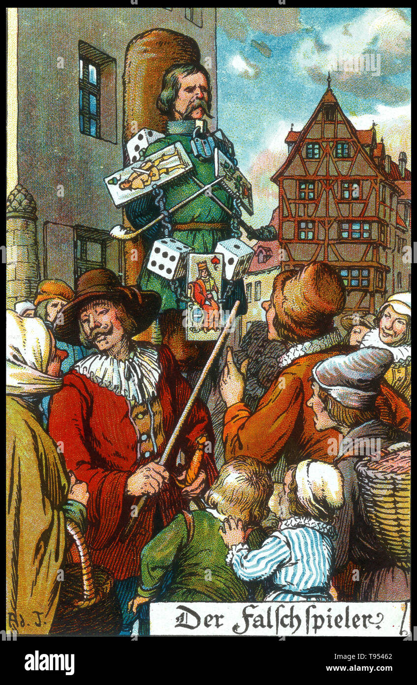 German postcard depicting medieval punishment for a card cheat. Public humiliation is the dishonoring showcase of a person, usually an offender or a prisoner, especially in a public place. It was regularly used as a form of punishment in former times, and is still practiced by different means in the modern era. Ernest Nister (1841-1906) was a publisher and printer of movable books for children and paper ephemera such as greeting cards, post cards, and calendars. - Stock Image