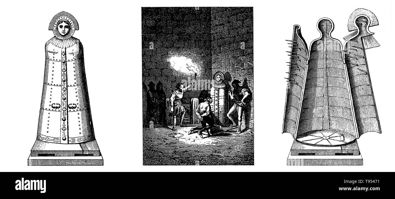 Left, an iron maiden with its doors secured; middle, a blindfolded prisoner is forced to kneel down before the iron maiden in a dungeon; right, an iron maiden with its doors open. The iron maiden (AKA, jungfernkuss, eiserne jungfrau, the virgin, kiss of the virgin) is a fictional iron cabinet torture device with a hinged front and spike-covered interior to enclose a human being. Wolfgang Schild, a professor of criminal law and criminal law history at the University of Bielefeld, has argued that putative iron maidens were pieced together from artifacts found in museums to create spectacular obj - Stock Image