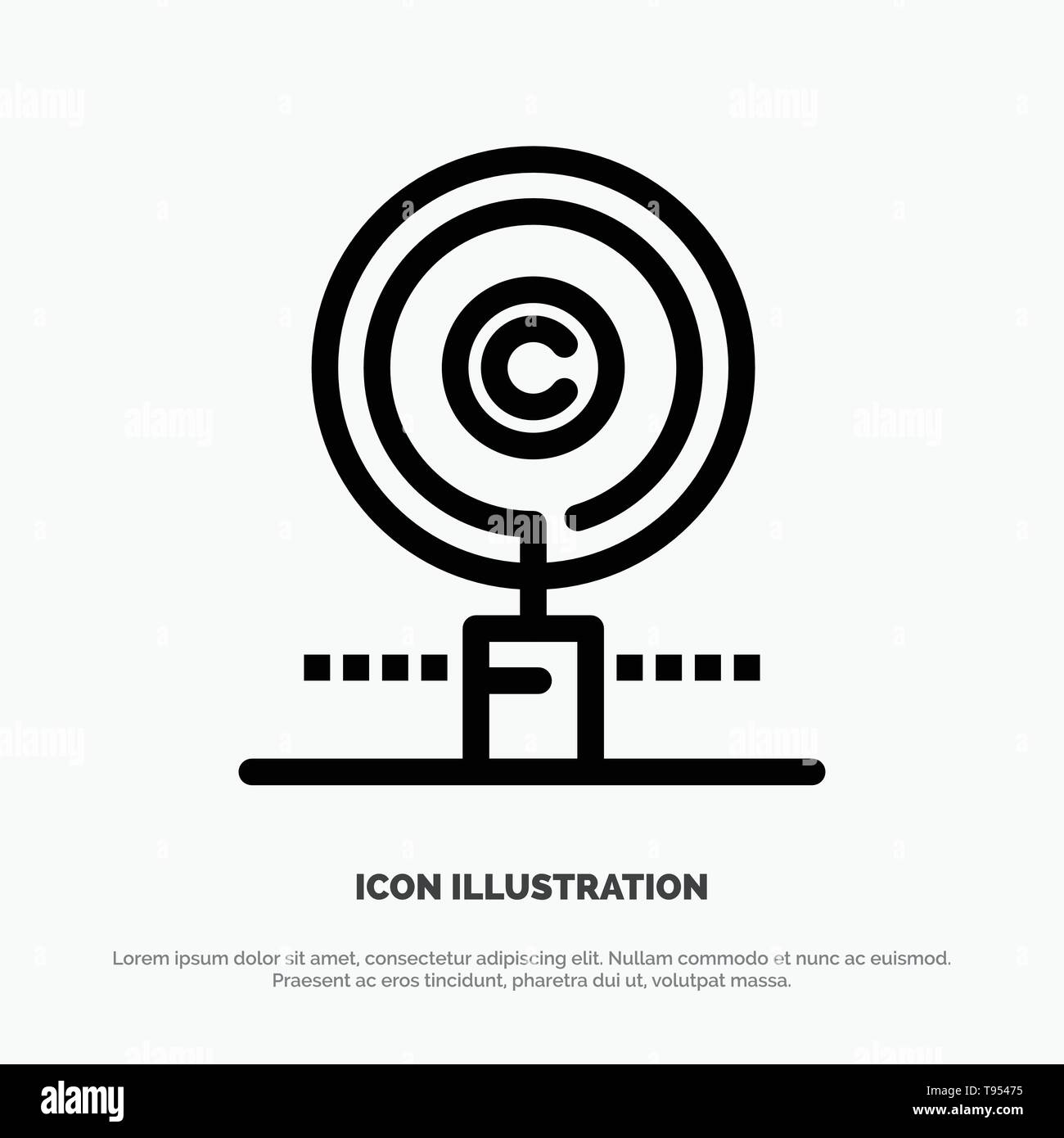 Content, Copyright, Find, Owner, Property Line Icon Vector - Stock Image