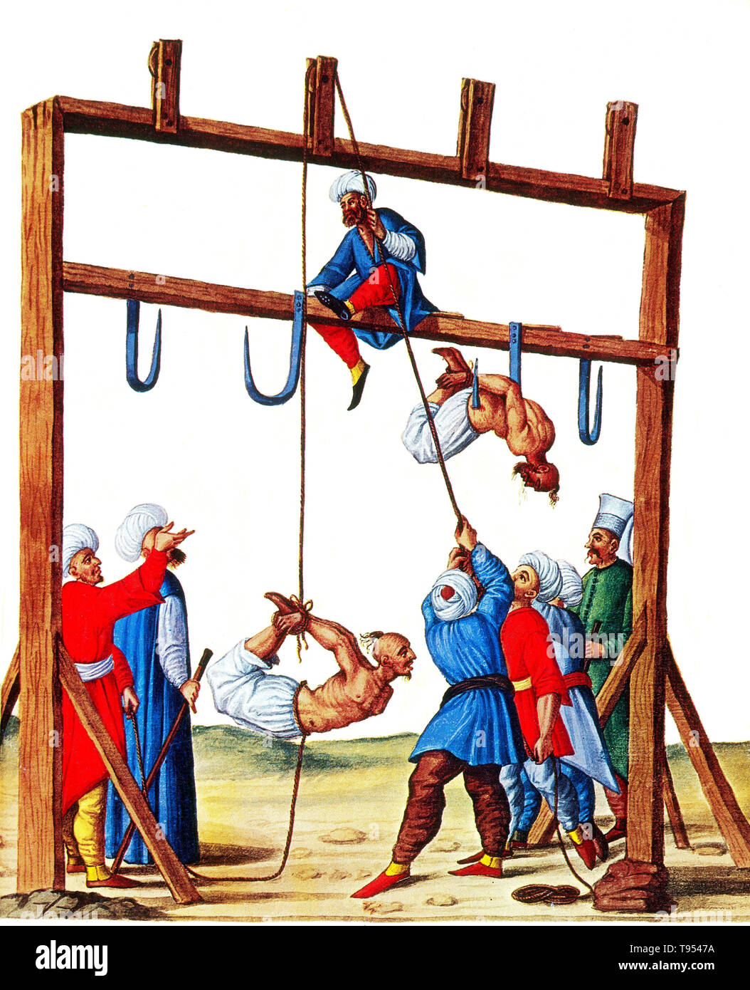 Entitled: 'The Execution of Christians, Turks and Jews', 1590s. Impalement, as a method of execution and also torture, is the penetration of a human by an object such as a stake, pole, spear, or hook, often by complete or partial perforation of the torso. It was used particularly in response to crimes against the state and regarded across a number of cultures as a very harsh form of capital punishment and recorded in myth and art. Impalement was also used during wartime to suppress rebellion, punish traitors or collaborators, and as a punishment for breaches of military discipline. Offenders h - Stock Image