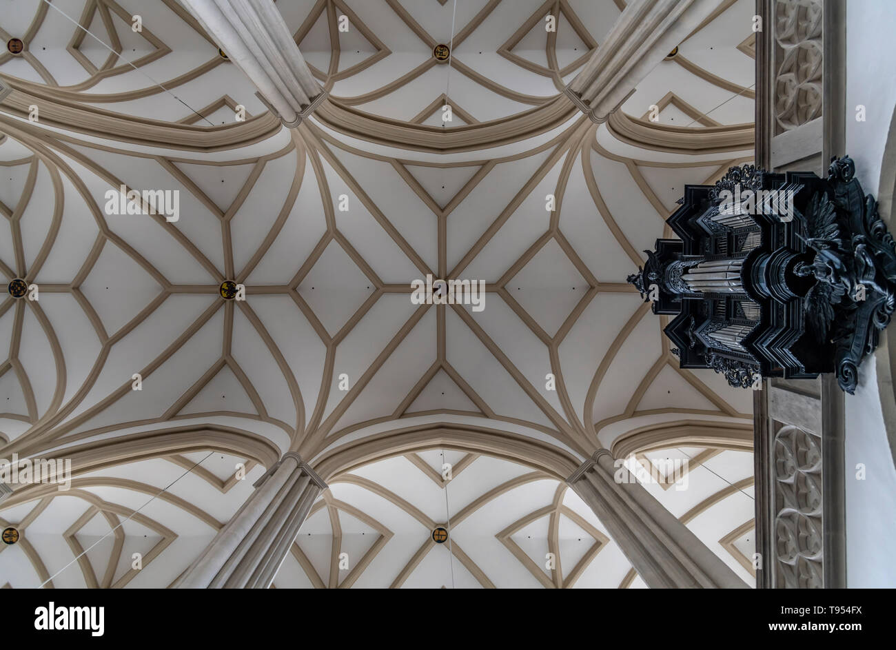 The ceiling of St. James' Church, Brno in the Czech Republic. Dating back to the 13th century. Famous for the ossuary beneath the chuch. Stock Photo