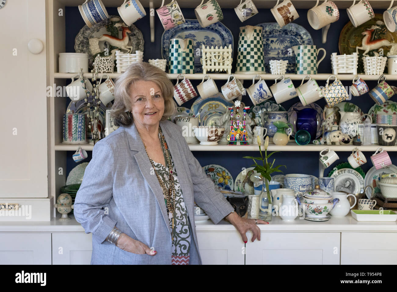 Polly Devlin OBE, Writer and Broadcaster at her home in West London. Born 1944 in Northern Ireland. Photographed in front of her kitchen dresser with  - Stock Image