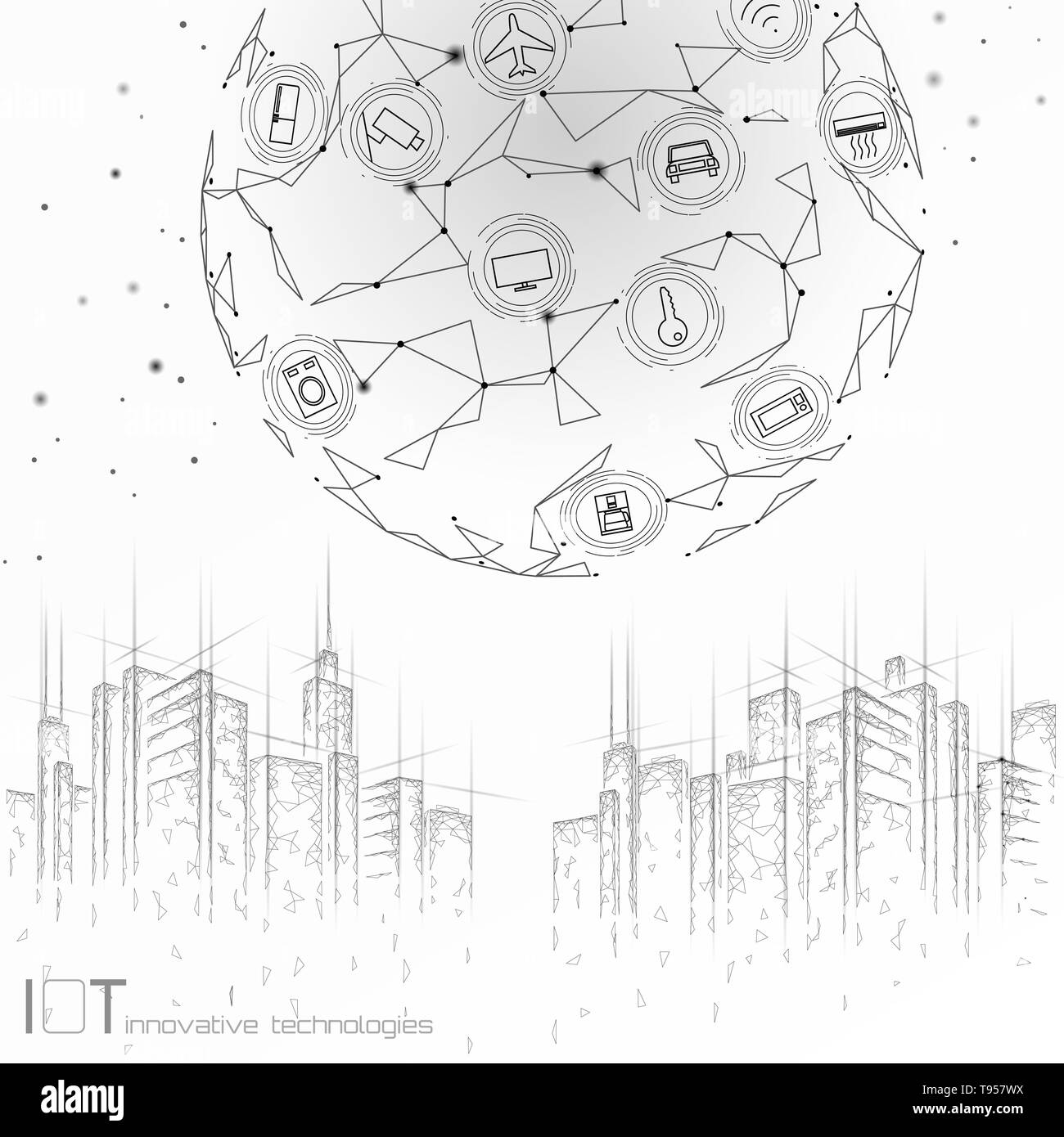 Internet of things low poly smart city 3D wire mesh. Intelligent building automation IOT concept. Modern wireless online control icon urban cityscape - Stock Image